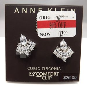 Anne Klein Cubic Zirconia Clip Earrings NOS